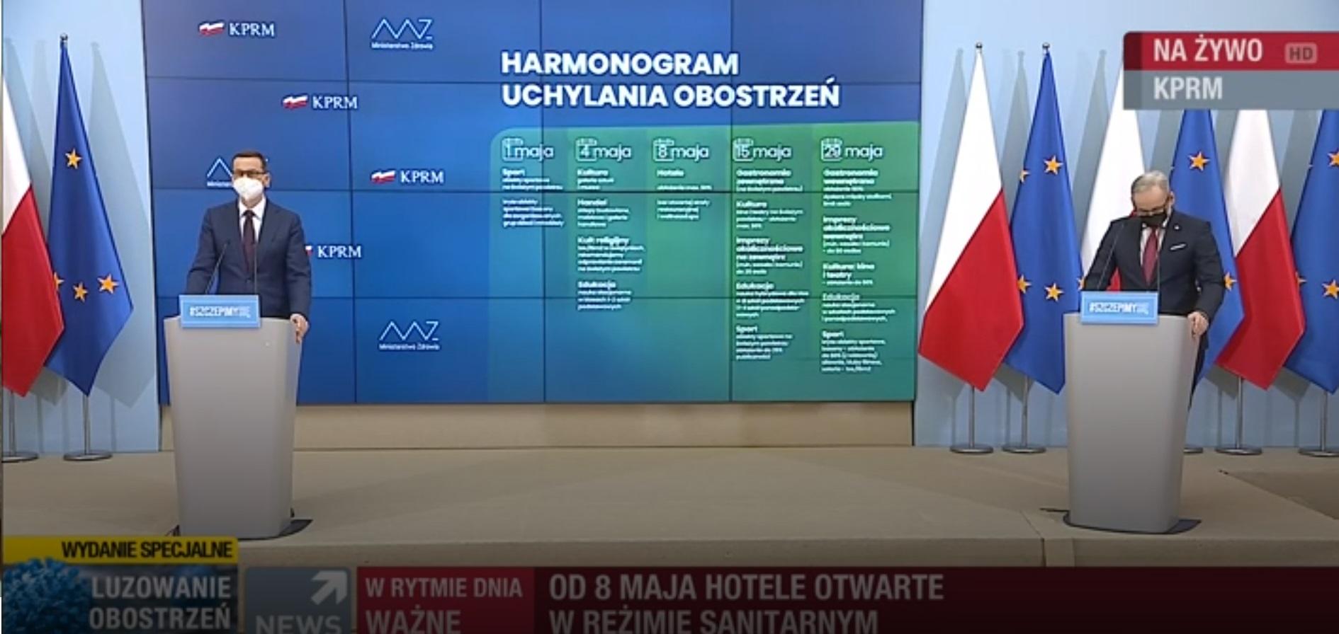 Podczas konferencji transmitowanej na żywo zaprezentowano kolejne etapy i wielkie luzowanie obostrzeń w Polsce.