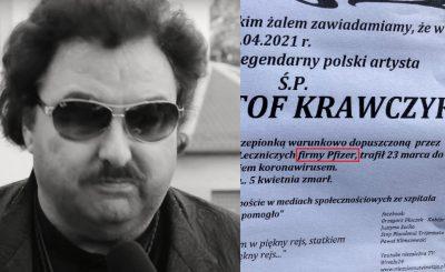 Po sieci krąży nekrolog Krzysztofa Krawczka, który udostęnniają sobie w sieci przede wszystkim szczepionkowi sceptycy. Jednak to już przesada