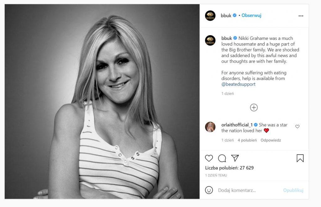 Nikki Grahame nie żyje, gwiazda Big Brothera zmarła w wieku 38 lat, od dłuższego czasu zmagała się z ciężką chorobą jaką jest anoreksja.