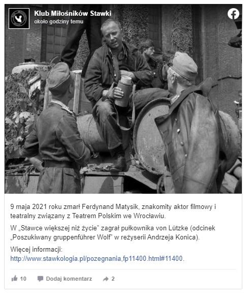 """Ferdynand Matysik nie żyje, aktor teatralny i filmowy znany był między  innymi z serialu """"Świat według Kiepskich"""" oraz licznych filmów"""