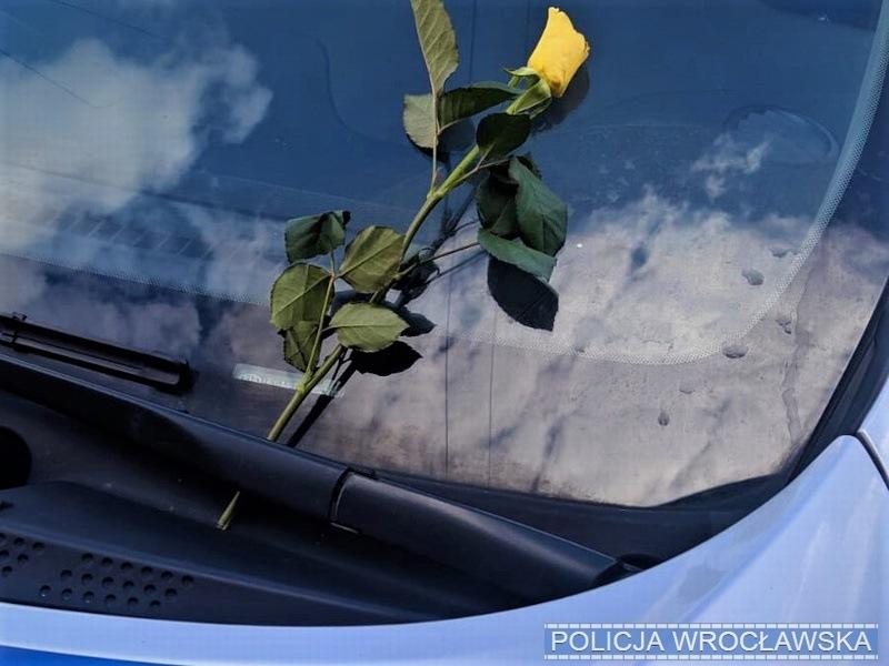 Funkcjonariusze po zakończonych czynnościach zauważyli, że nieznany sprawca zostawił coś za wycieraczką radiowozu, była to żółta róża