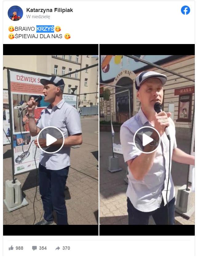Syn Krzysztofa Krawczyka, dał niesamowity występ na ulicy Piotrkowskiej gdy pokazał zwykłym przechodniom jak śpiewa piosenki ojca