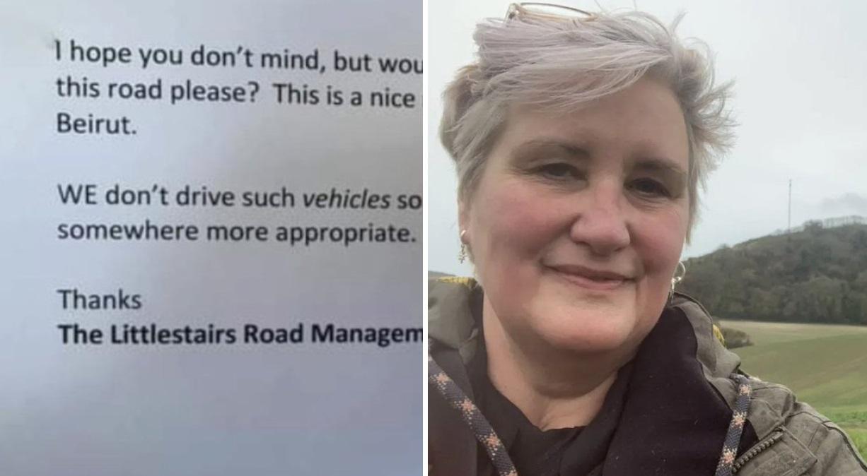 Julia Laursen znalazła wiadomość za wycieraczką swojego samochodu, gdy zobaczyła jej treść wściekła i się i dała upust emocjom