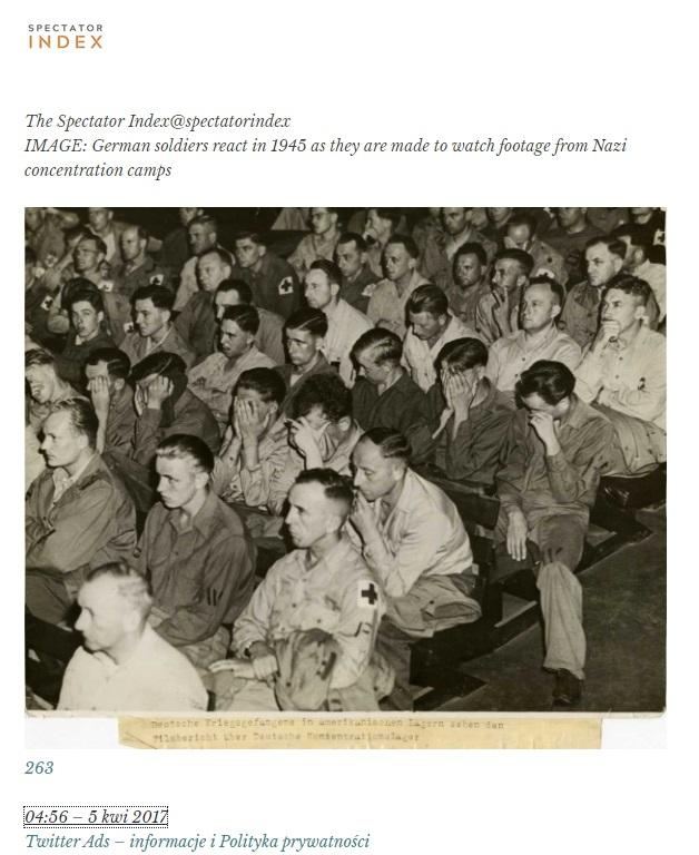 Amerykanie pokazali Niemcom film z obozu koncentracyjnego, reakcja zgromadzonych na sali była miażdżąca. Niemcy odwracali wzrok