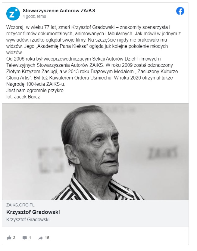 """Nie żyje Krzysztof Gradowski, reżyser """"Akademii Pana Kleksa"""", jego dzieło znali wszyscy Polacy, wiele pokoleń wychowywało się na jego filmach"""