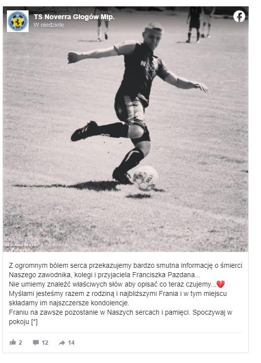 Nie żyje Franciszek Pazdan, o śmierci poinformował klub w którym grał 23-latek z Podkarpacia. Mężczyzna grał na pozycji lewoskrzydłowego.
