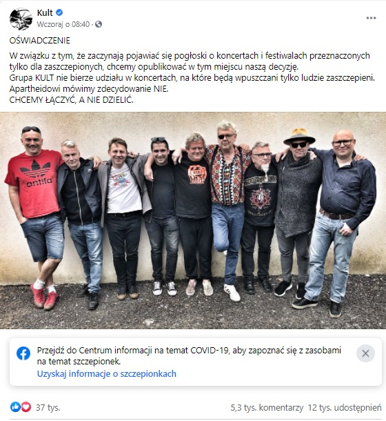 """Grupa Kult wraz z  liderem Kazikiem Staszewskim oświadczyli, że """"Apartheidowi mówią nie"""", chodzi tu o koncerty tylko dla zaszczepionych."""