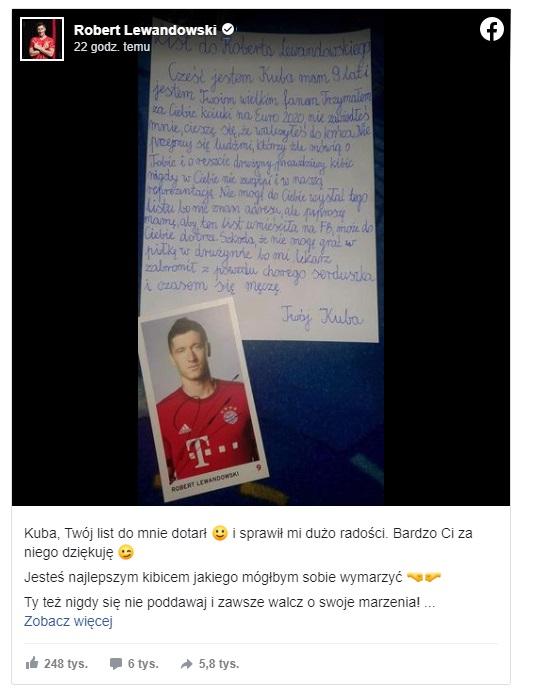W sieci pojawił się list napisany przez 9-latka do Roberta Lewandowskiego. Znany polski piłkarz postanowił odpisać chłopcu.