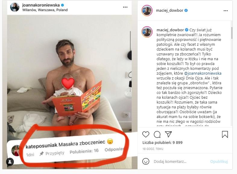 """Maciej Dowbor wygląda jakby siedział nago, córeczkę posadził w """"newralgicznym"""" miejscu. Internauci zareagowali. Burza w sieci"""