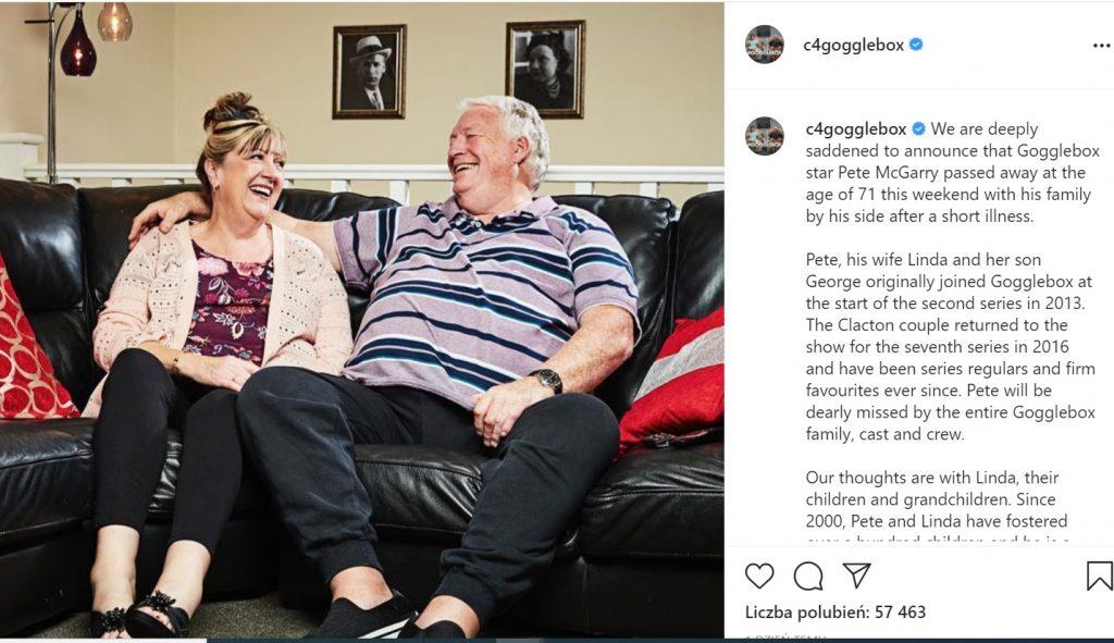 Przekazano tragiczną wieść o uczestniku brytyjskiej wersji programu Gogglebox, Pete McGarry nie żyje. Widzowie są w szoku.