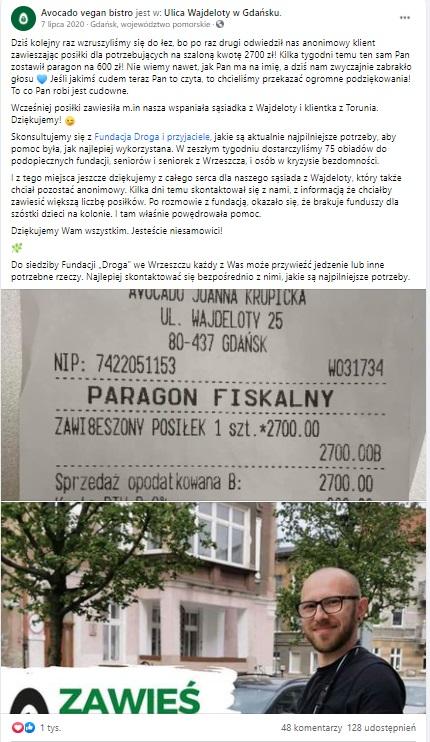 Akcja Zawieszone Posiłki staje się coraz popularniejsza, ten paragon to prawdziwy rekord, Gdańsk jeszcze czegoś takiego nie widział.