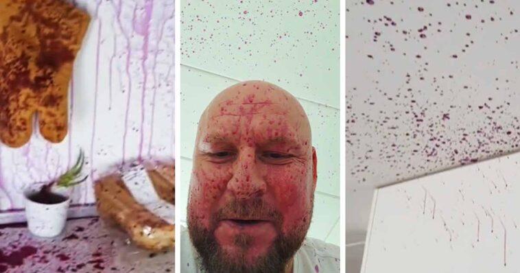 Wściekły mężczyzna pokazał kuchnię, która jest cała wysmarowana sokiem z kiszonego buraka po tym jak przy otwieraniu butelki napój wystrzelił.