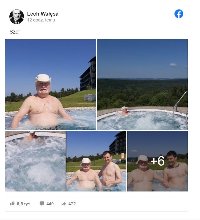 Lech Wałęsa  postanowił wypocząć w bardzo drogim hotelu w Arłamowie. Turyści chętnie robili sobie z nim zdjęcia. Co na to żona?