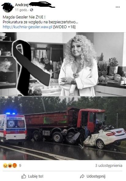 """""""Magda Gessler nie żyje"""": taki tytuł ma news który zaczyna krążyć na Facebooku. Ludzie udostępniają treść bez sprawdzenia czy to prawda."""