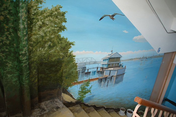 Przepiękne malowidła na klatce schodowej podbiły serca nie tylko mieszkańców ale i internautów. Obrazy zapierają dech w piersiach