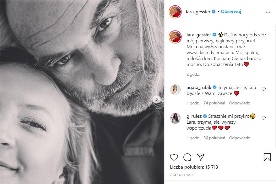 Piotr Gessler nie żyje, Lara jego córka poinformowała o tym za pośrednictwem mediów społecznościowych. Wstrząsające wieści potwierdzone