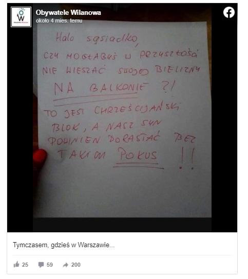 Jedna z lokatorek była tak zniesmaczona tą na pozór zwykłą czynnością, że postanowiła upomnieć sąsiadkę i oburzona napisała list